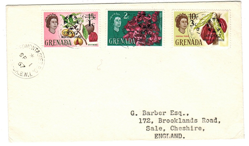 GRENADA - 1967 cover to UK used at PIEDMONTAGNES.