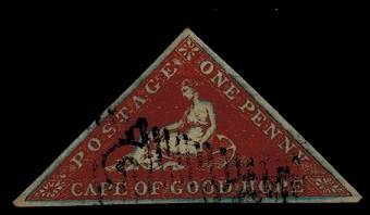 CAPE OF GOOD HOPE - 1853 1d pale brick red on blued paper