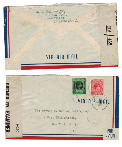 ST.KITTS - 1944 censor cover to USA with OBE