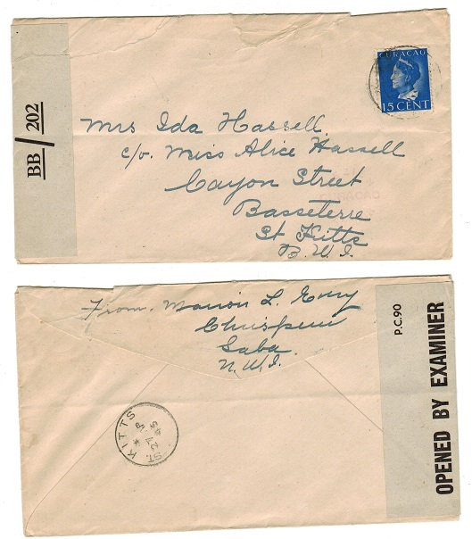 ST.KITTS - 1945 inward censor cover with OBE