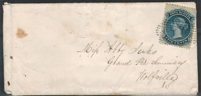 NOVA SCOTIA - 1854 5c rate local cover with AMHERST/N.S. b/s.