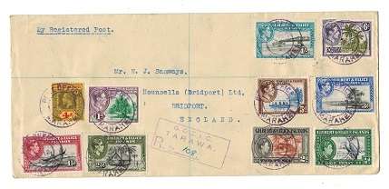 GILBERT AND ELLICE ISLANDS - 1948 registered cover to UK used at MARAKEI.