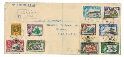 GILBERT AND ELLICE IS - 1948 registered cover to UK used at ARANUKA.
