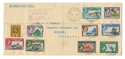 GILBERT AND ELLICE IS - 1948 registered cover to UK used at ARORAE.