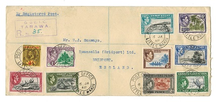 GILBERT AND ELLICE ISLANDS - 1948 registered cover to UK used at LITTLE MAKIN.