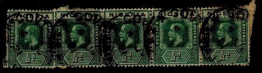 NIGERIA - 1914 1/2d green strip of five cancelled GOVT-TELS/NIGERIA.