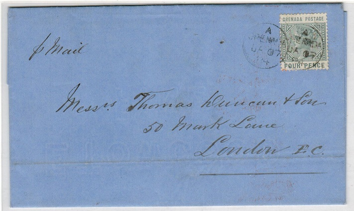 GRENADA - 1884 4d rate entire addressed to UK.