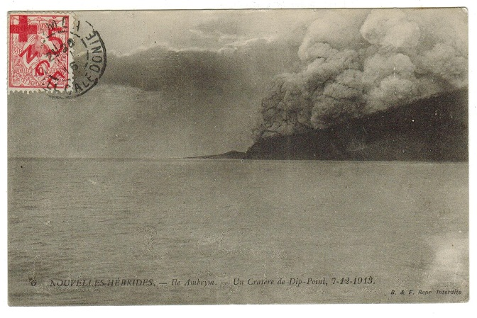 NEW CALEDONIA - 1916 5c/10c RED CROSS use on New Hebrides postcard.