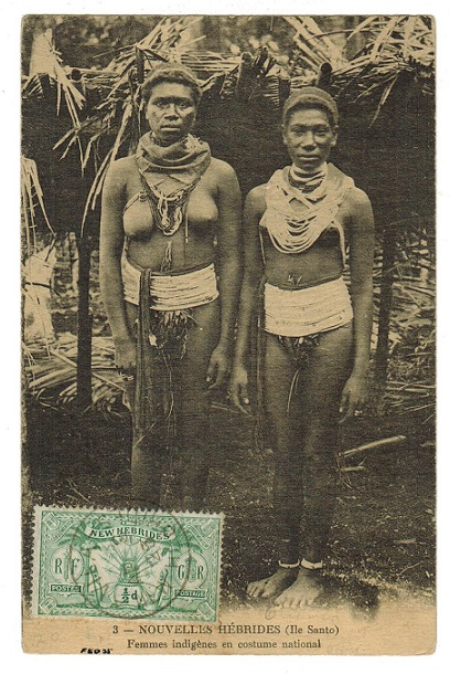 NEW HEBRIDES - 1923 1/2d rate (unaddressed) postcard use at PORT VILA.