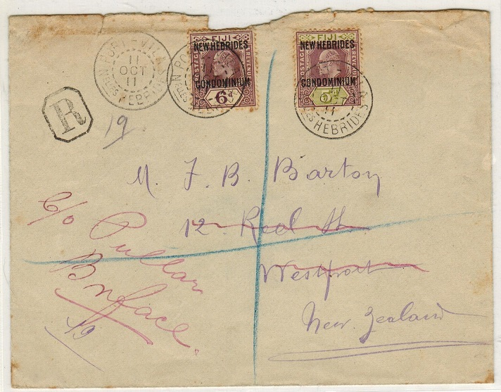 NEW HEBRIDES - 1911 registered cover to New Zealand with 5d+6d adhesives tied PORT VILA.