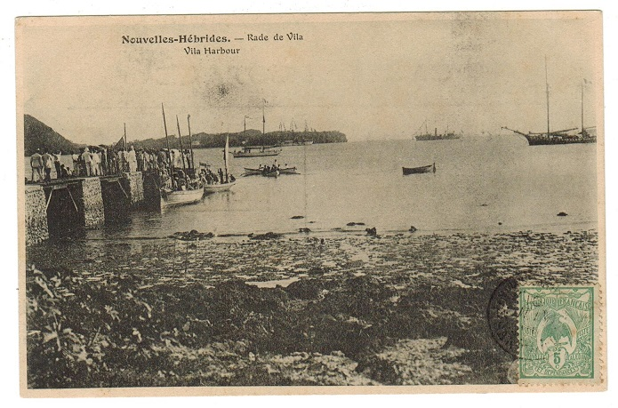 NEW HEBRIDES - (1910) philatelic postcard use with New Caledonia 5c used at PORT SANDWICH.