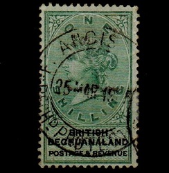 BECHUANALAND - 1888 1/- green and black cancelled by French maritime cds.  SG 15.