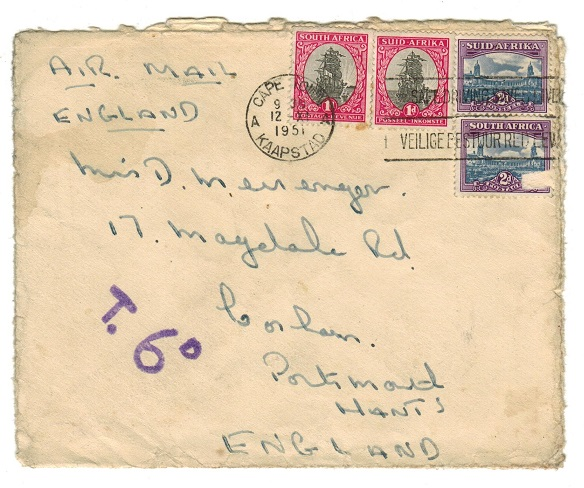 SOUTH AFRICA - 1951 underpaid cover to UK with