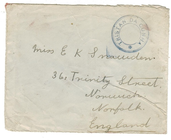 TRISTAN DA CUNHA - 1929 (circa) stampless cover to Uk with SG C6 handstamp applied in blue.