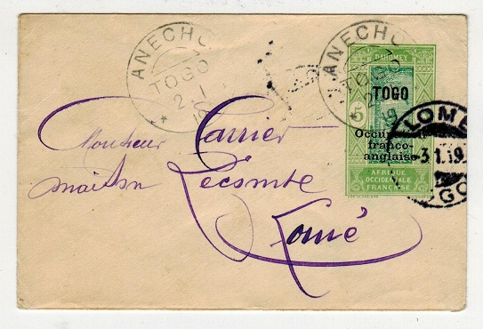 TOGO (French) - 1917 5c PSE addressed locally used at ANECHO. H&G 1.