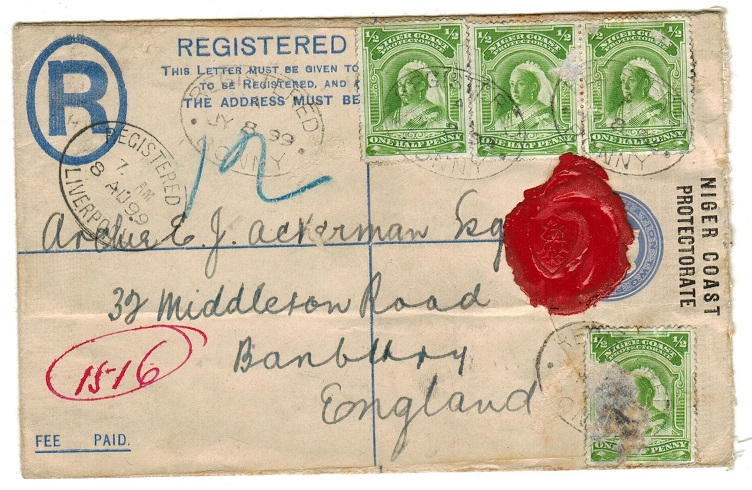NIGER COAST - 1894 2d RPSE to UK uprated with  1/2d green (x4) adhesives used at BONNY.  H&G 4A.