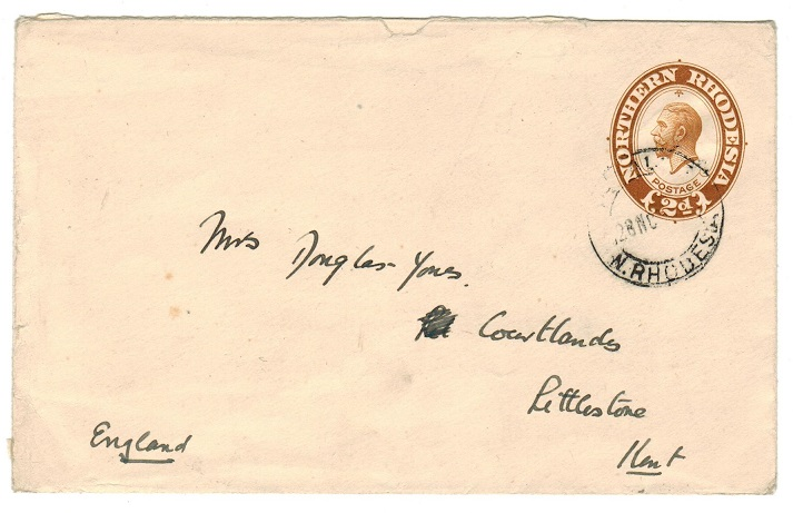 NORTHERN RHODESIA - 1924 2d PSE (size b) addressed to UK.  H&G 1a.