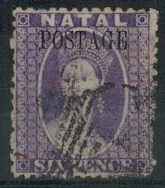 NATAL - 1869 6d lilac overprinted POSTAGE in used condition.  SG 29.