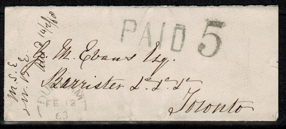 CANADA - 1863 stampless cover used at DURHAM with