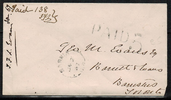 CANADA - 1862 stampless cover used at SARNIA with