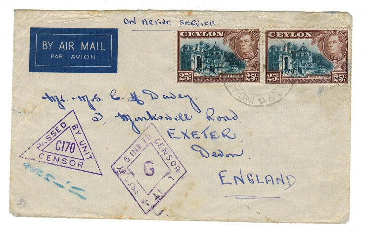 CEYLON - 1942 Indian military censored cover to UK.