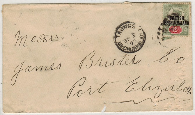 BECHUANALAND - 1895 2d rate cover used at TAUNGS.