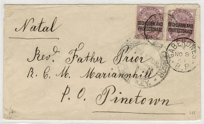 BECHUANALAND - 1901 2d rate cover to Natal used at GABERONES with Boer War censor.