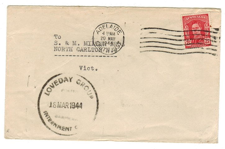 AUSTRALIA - 1944 LOVEDAY GROUP/INTERNMENT CAMP cover to Victoria.