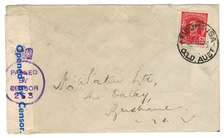 AUSTRALIA - 1944 censor cover used at MOUNT ISA.
