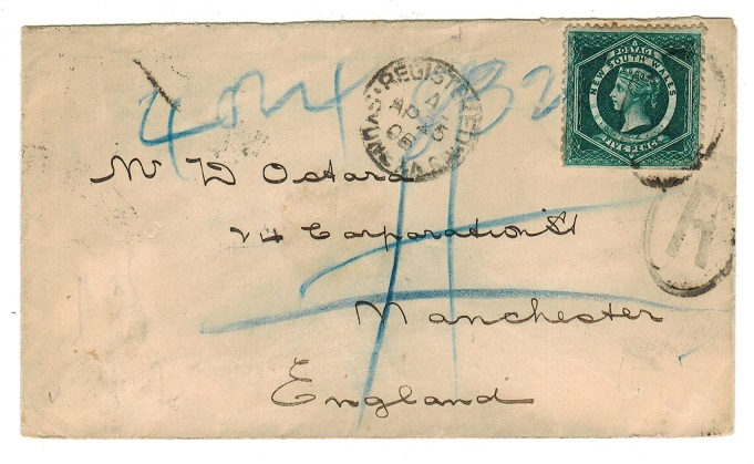AUSTRALIA (New South Wales) - 1906 5d rate registered cover to UK used at SYDNEY.