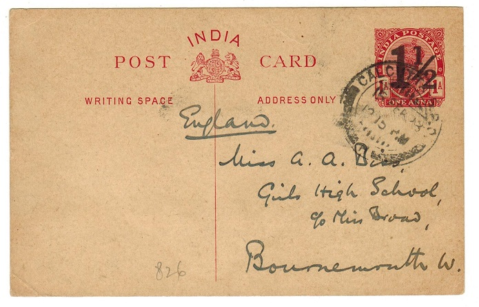 INDIA - 1921 1 1/2a on 1a PSC to UK used at CALCUTTA.  H&G 26.
