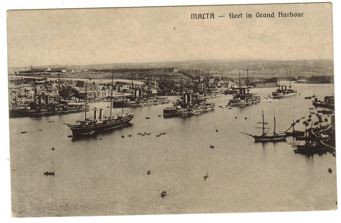 MALTA - 1915 (circa) postcard depicting British WW1 fleet in harbour. Written but unsent.