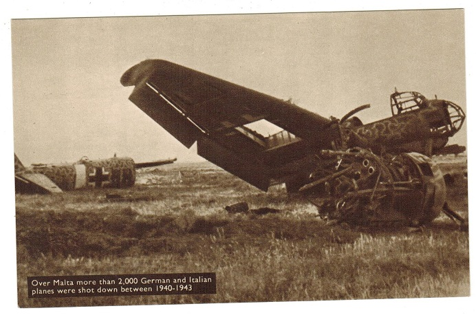 MALTA - 1944 (circa) unused postcard depicting German bomber shot down on Malta.