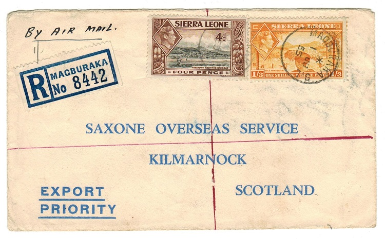 SIERRA LEONE - 1955 registered cover to UK with KGVI adhesives used at MAGBURAKA.