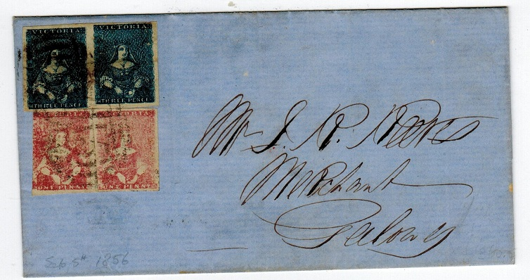 AUSTRALIA (Victoria) - 1856 8d Double rate 1/2 length cover to Geelong.
