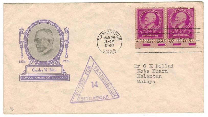 SINGAPORE - 1940 inward censor cover from Kelantan in Malaya.