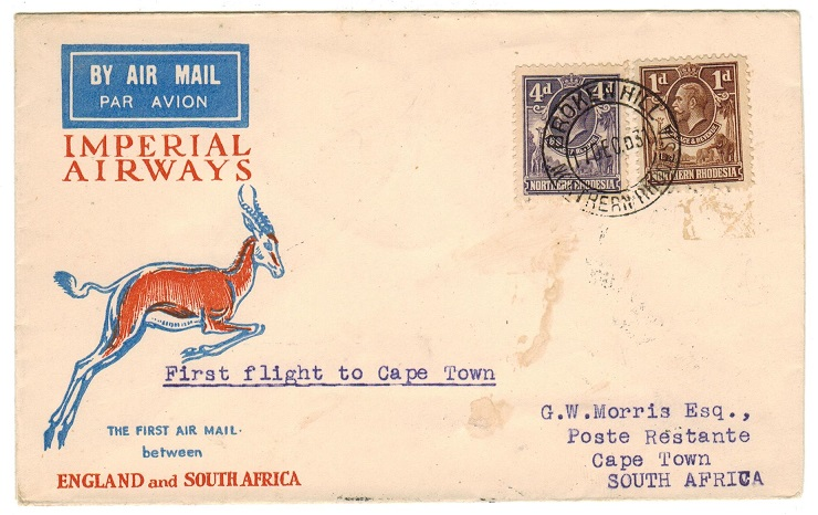 NORTHERN RHODESIA - 1937 first flight cover to Cape Town.