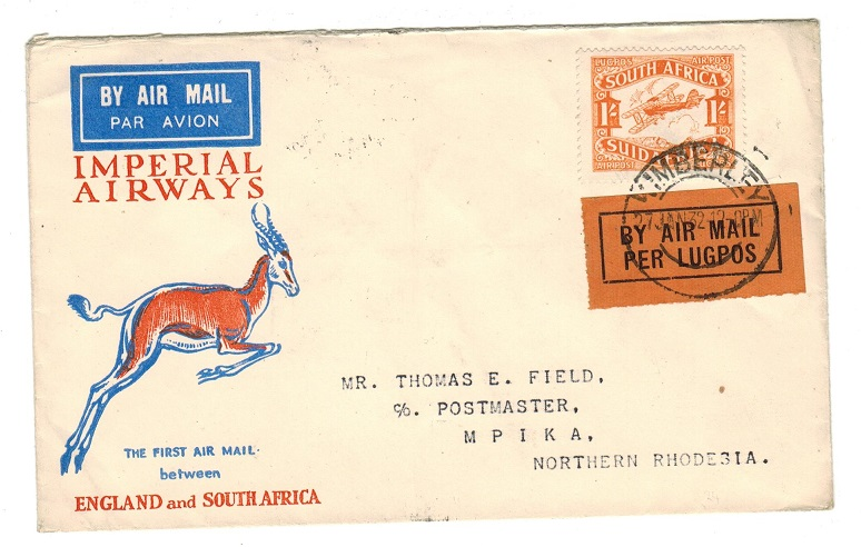 NORTHERN RHODESIA - 1932 inward first flight cover from South Africa to Mpika.