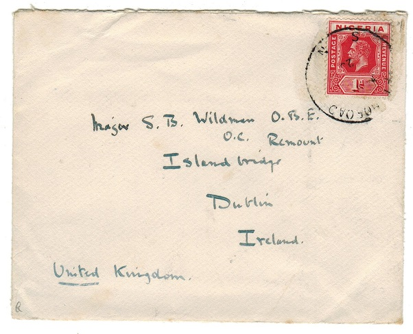 NIGERIA - 1920 1d rate cover to Ireland used at AFIKPO ROAD.