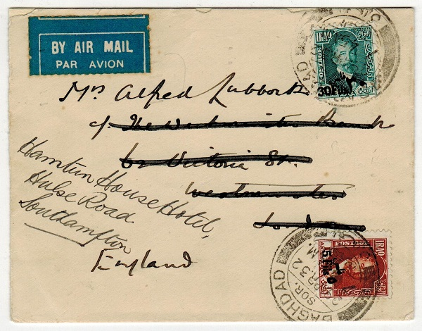 IRAQ - 1932 surcharge adhesive franked cover to UK used at BAGHDAD/SOR.