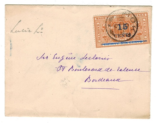 MAURITIUS - 1899 15c on 36c surcharge franked cover to France.