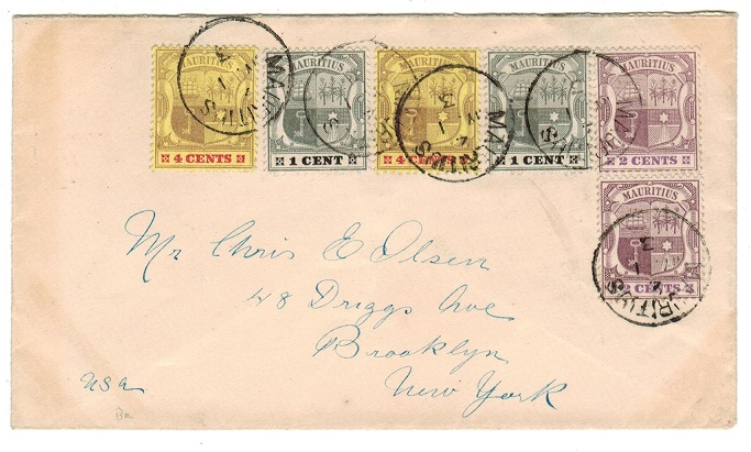 MAURITIUS - 1903 multi franked cover to USA.