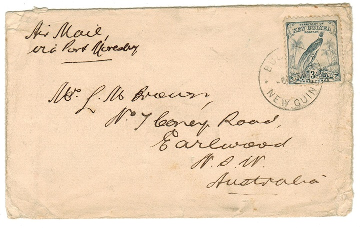 NEW GUINEA - 1933 3d rate (worn) cover to Australia used at BULOLO.