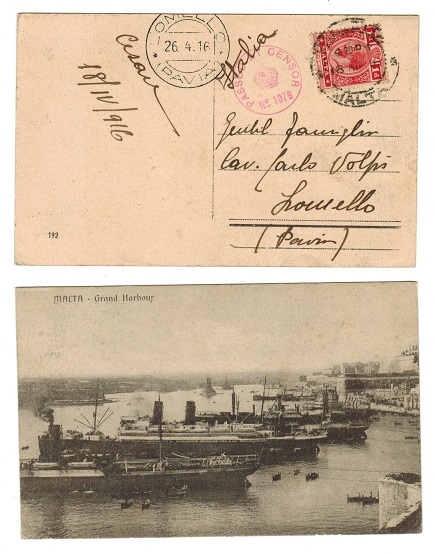 MALTA - 1916 1d rate postcard use with PASSED BY CENSOR strike.