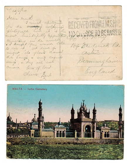 MALTA - 1920 RECEIVED FROM HMS SHIP use of postcard to UK.