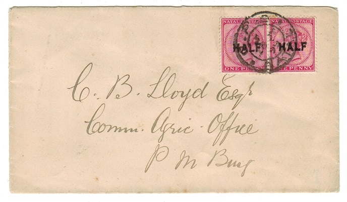 NATAL - 1899 HALF on 1d pair tied to local cover at GPO/NATAL.