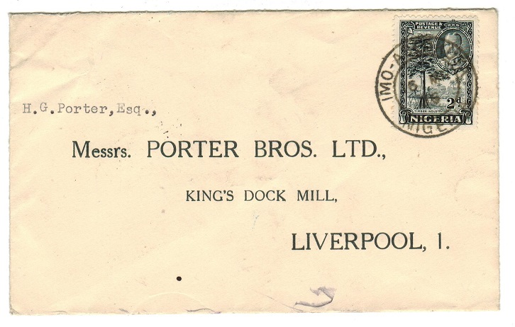 NIGERIA - 1936 2d rate cover to UK used at IMO ABEOKUTA.