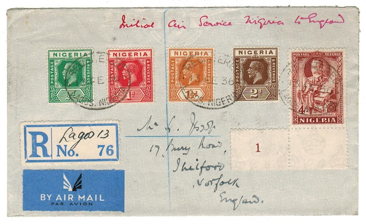 NIGERIA - 1936 multi franked registered first flight cover to UK.