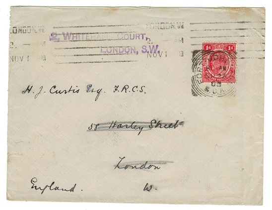 NYASALAND - 1909 1d rate cover to UK used at FORT JOHNSTON.