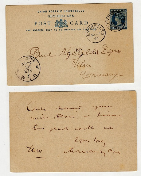 SEYCHELLES - 1890 PSC to Germany.  H&G 2.